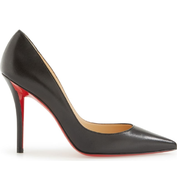 the best attitude 3fa0d 77eea Apostrophy Pointed Red-Sole Pump in Black Leather