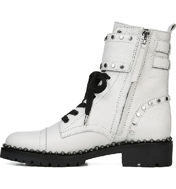 a7d443368 Sam Edelman Women s Jennifer Studded Leather Combat Booties In Bright White