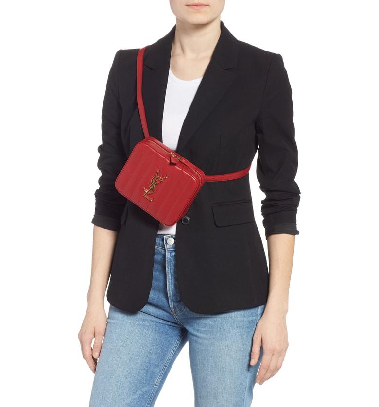 205f7e3ffd0 Saint Laurent Monogram Vicky Small Leather Belt Bag - Red | ModeSens