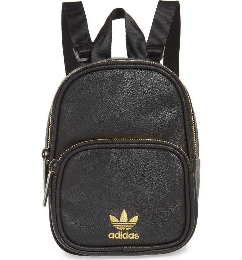 7bcdfd68979b3 Adidas Originals Originals Mini Faux Leather Backpack - Black In Black Gold