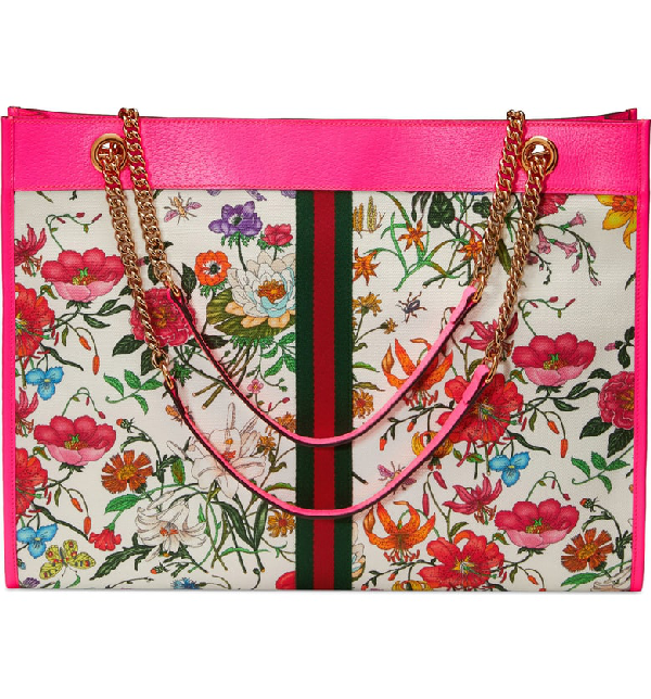 1381062d867 Gucci Rajah Medium Floral-Print Tote Bag With Tiger Head In Pink ...