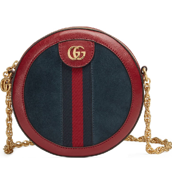 d7336175e090 Gucci Ophidia Small Suede & Leather Circle Crossbody Bag - Blue In New Blu/  Romantic
