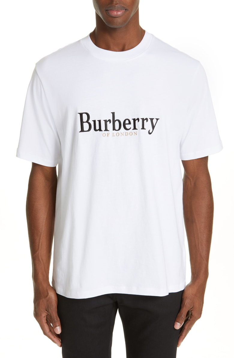 63515a43 Burberry Embroidered Archive Logo Cotton T-Shirt In Abtot White ...