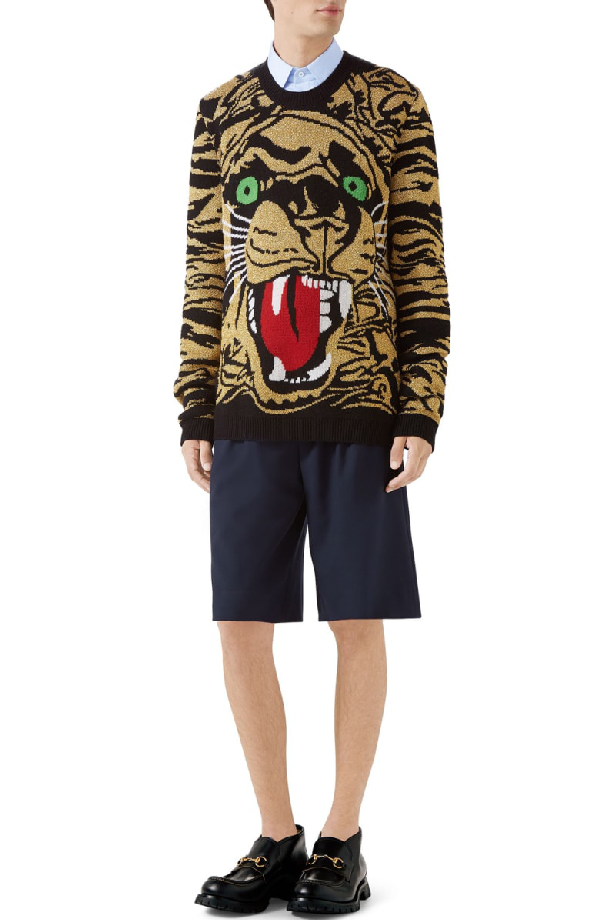 d4421674c Gucci Tiger-Graphic Metallic Wool-Blend Sweater In Gold | ModeSens