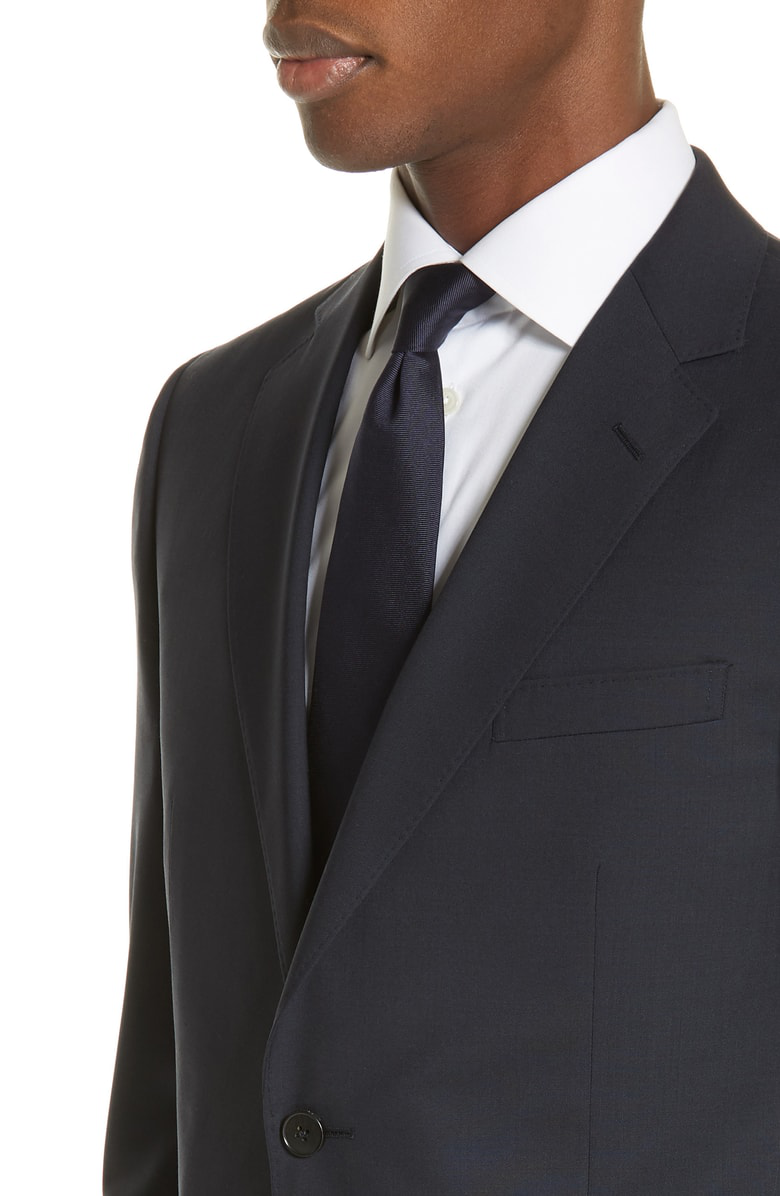 5a7e1983853e94 Z Zegna Trim Fit Solid Wool Travel Suit In Navy | ModeSens