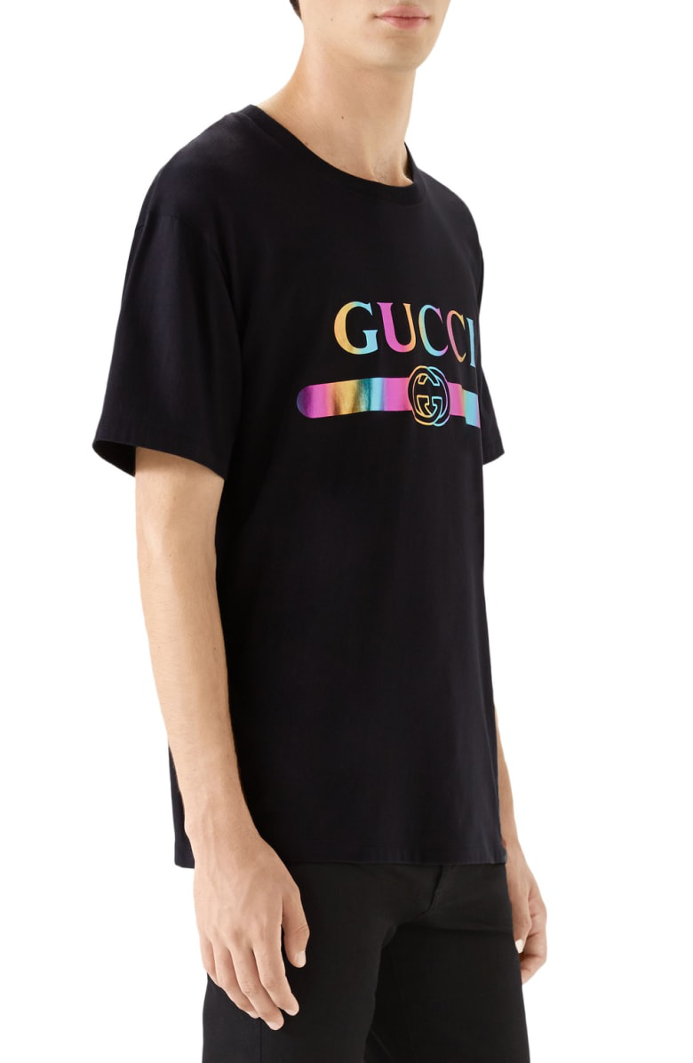 9ec180d95 Gucci Men's Metallic Rainbow Logo Graphic T-Shirt In Black | ModeSens