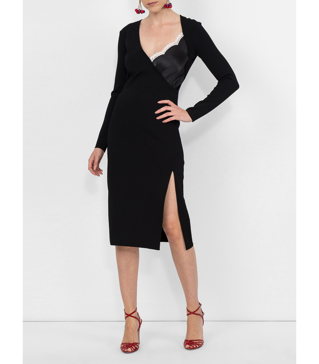 af2918647b7d Altuzarra Gianni Cami-Inset V-Neck Long-Sleeve Bodycon Knit Dress In Black