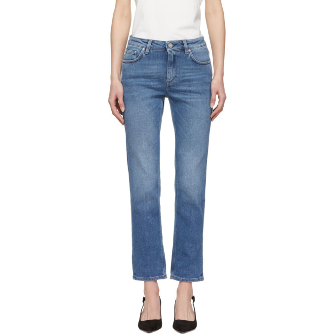 TotÊMe Toteme Blue Straight Jeans In 410 Mid Blu