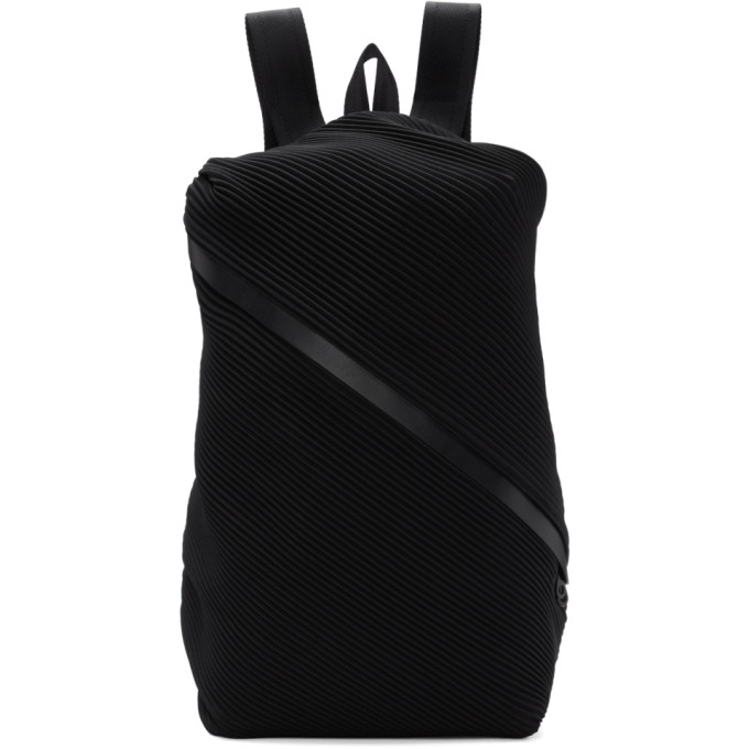 a01cf631bf Pleats Please Issey Miyake Black Single Zip Bias Pleats Backpack In 15 Black