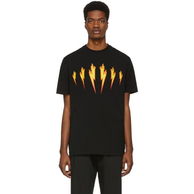 874694d9d5 Neil Barrett Black Firebolt T-Shirt In 1004Blkylw   ModeSens