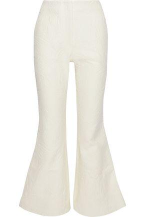 BEAUFILLE BEAUFILLE WOMAN ZELUS COTTON-BLEND MATELASSÉ FLARED PANTS CREAM,3074457345619866275