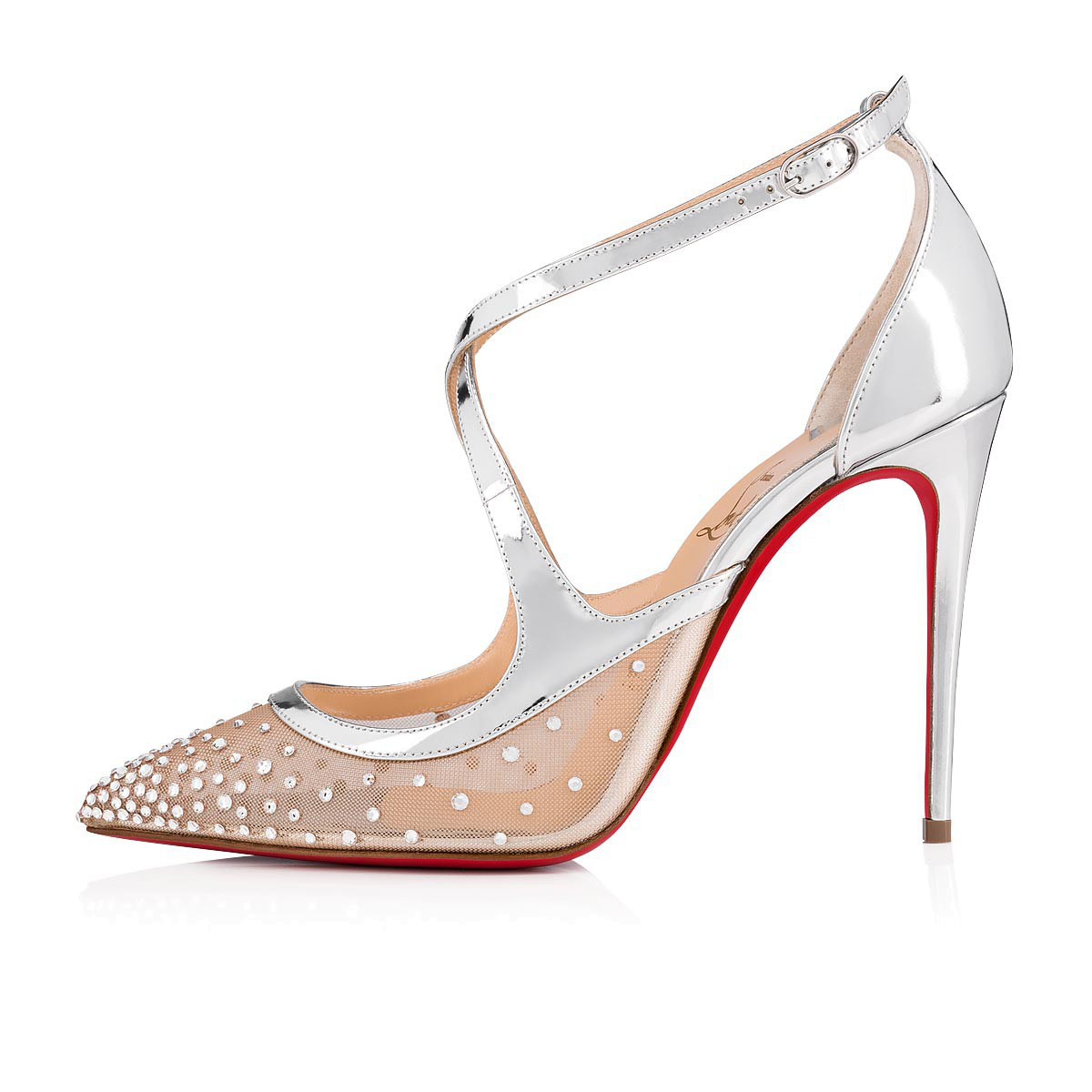 adc43dc346cb Christian Louboutin Twistissima Strass 100 Metallic Leather Pumps In  Version Crystal