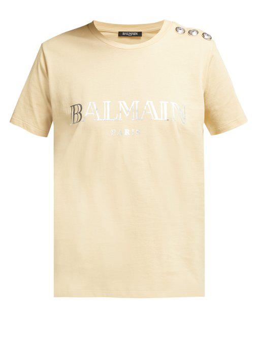 469dcecfa Balmain Metallic Logo-Print T-Shirt In Beige | ModeSens