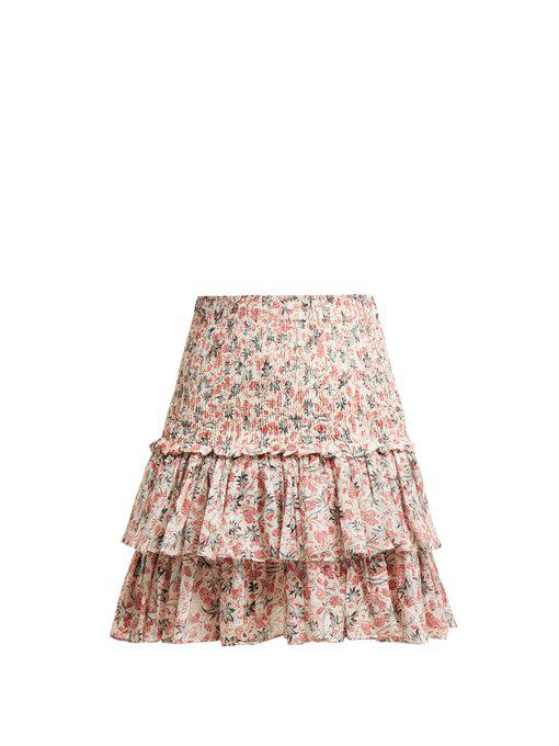 2dc6e19d756a7 Etoile Isabel Marant Naomi Floral-Print Cotton Mini Skirt In White ...