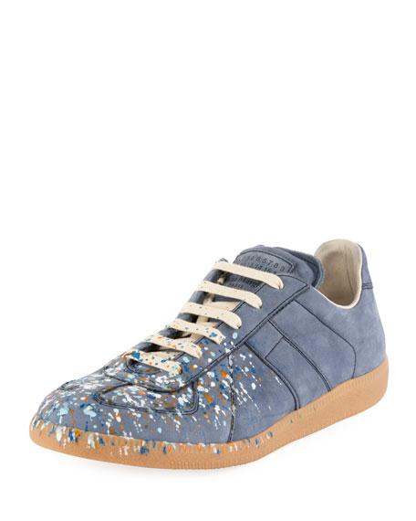 d24409e3896 Men's Replica Paint-Splatter Suede Low-Top Sneakers, Blue in Dusty-Blue