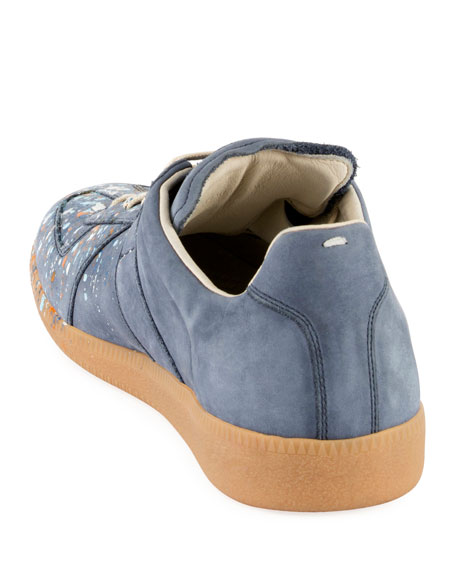 9383772ee70 Men's Replica Paint-Splatter Suede Low-Top Sneakers, Blue in Dusty-Blue