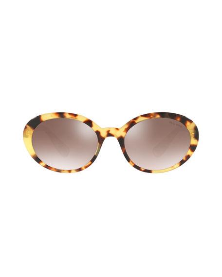 1af419651ce Miu Miu Mirrored Acetate Oval Sunglasses In Light Havana   Gradient Brown  Mirror Silver