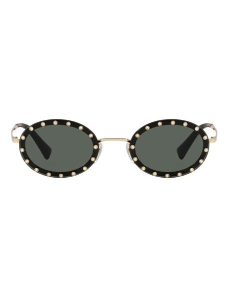 32950deffb1a Valentino 51Mm Crystal Rockstud Oval Sunglasses - Black/ Green Solid In  Black Silver