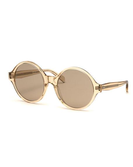 f52fcfc343 Round Acetate Sunglasses in Light Brown