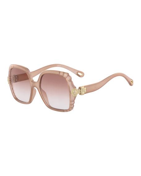 0153bb990 ChloÉ Vera Scalloped Square Plastic Sunglasses In Nude | ModeSens