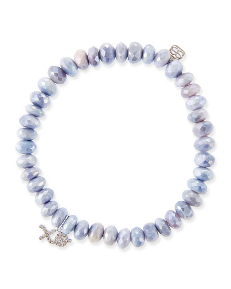 20b1eca9930 14K White Gold Diamond Xo & Lavender Moonstone Bracelet in Purple