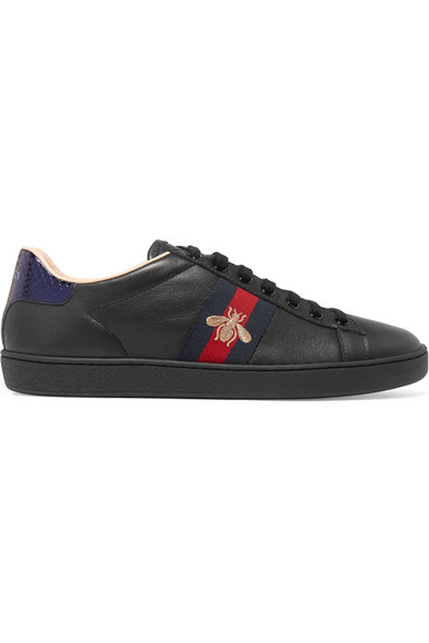 f5d2fa9f7f1 Gucci Ace Watersnake-Trimmed Embroidered Leather Sneakers In Black. NET-A -PORTER