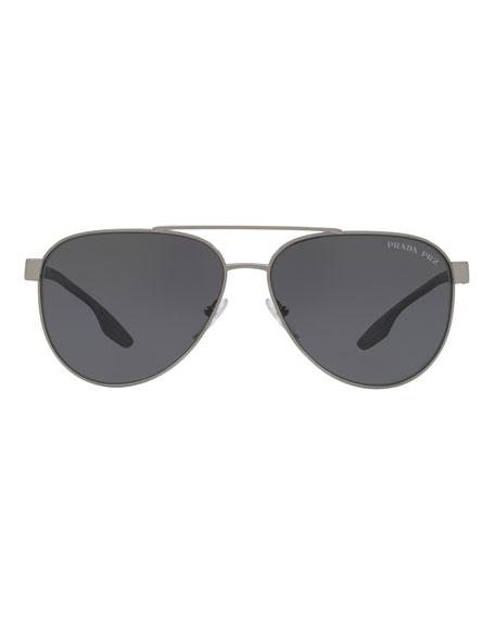 227b2ad6dd3 Prada Men s Metal Aviator Sunglasses In Gray