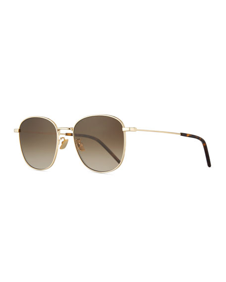 e2d734fafc4 Saint Laurent Men's Square Metal Aviator Sunglasses With Gradient Lenses In  Gold