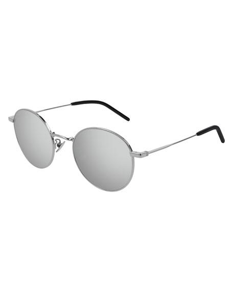 5e16e379ee2d1 Saint Laurent Men s Round Metal Mirrored Sunglasses In Silver