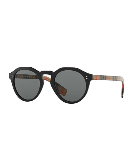62008e708e22 Burberry Men s Bluebird 48 Round Acetate Aviator Sunglasses In Black Gray