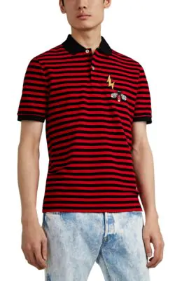 a88c0f3a88a Gucci Men s Striped Pique Polo Shirt With Patches