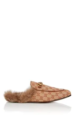 Gucci Princetown Double G Loafer Mule With Genuine Shearling In Brown