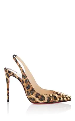 202826cced7 Christian Louboutin Drama Sling 100Mm Spike Leopard Red Sole Pumps In Black -Gold