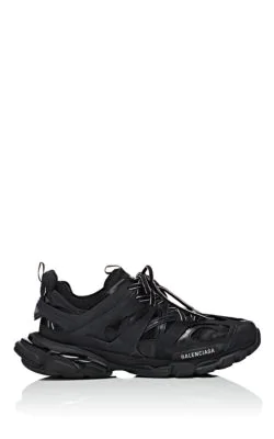 Balenciaga Track Black Leather And Mesh Sneakers In 1000 Black