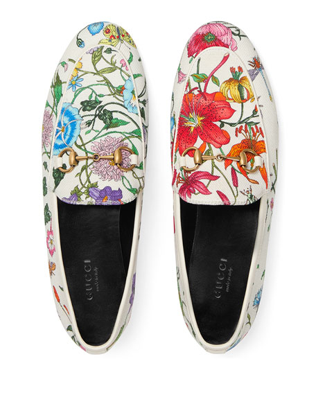 Gucci Floral Canvas Flat Loafers In Bianco