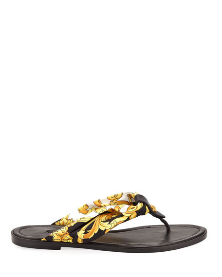 Versace Printed Silk-Twill And Leather Sandals In Black