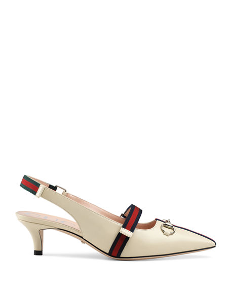 Gucci Horsebit Leather Slingback Pumps In Vintage White