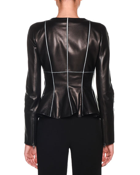 1ae9bfd57 Zip-Front Piped Fit & Flare Leather Jacket in Black