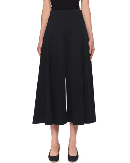 The Row Mildro High-Rise Cropped Wide-Leg Pants In Black