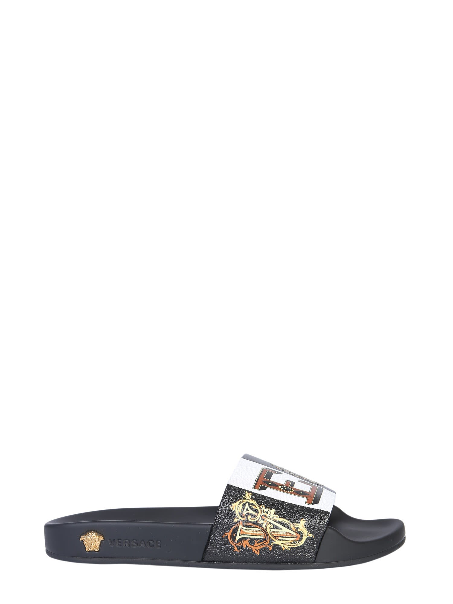 20c615253c57 Versace Printed Rubber And Leather Slides In Black