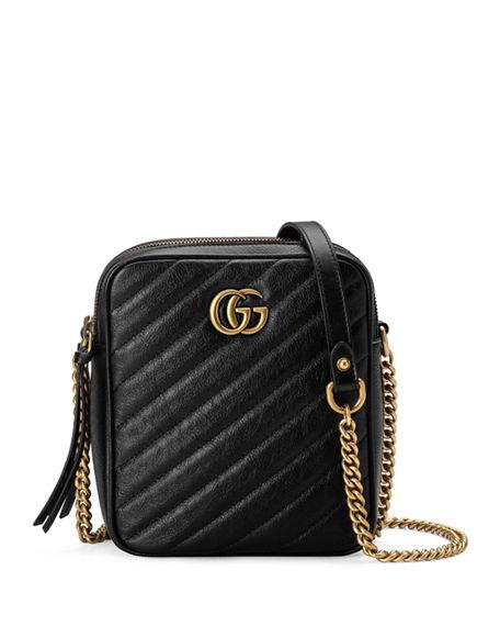 Gucci Gg Marmont Tall Chevron Leather Crossbody Bag In Black