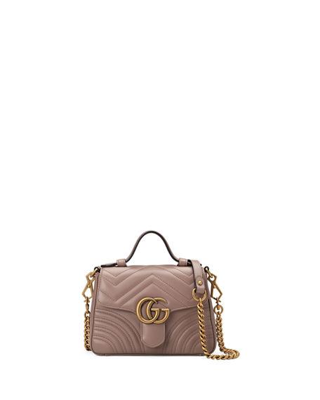 ab930daff921ed Gucci Gg Marmont Mini Chevron Leather Satchel Bag In Brown   ModeSens