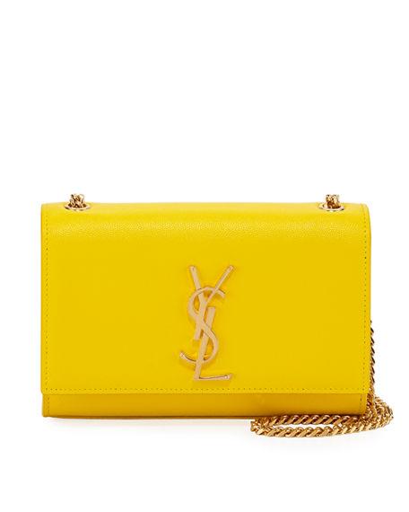 5d6a8efb58 Saint Laurent Kate Monogram Ysl Small Grain Leather Crossbody Bag In Yellow