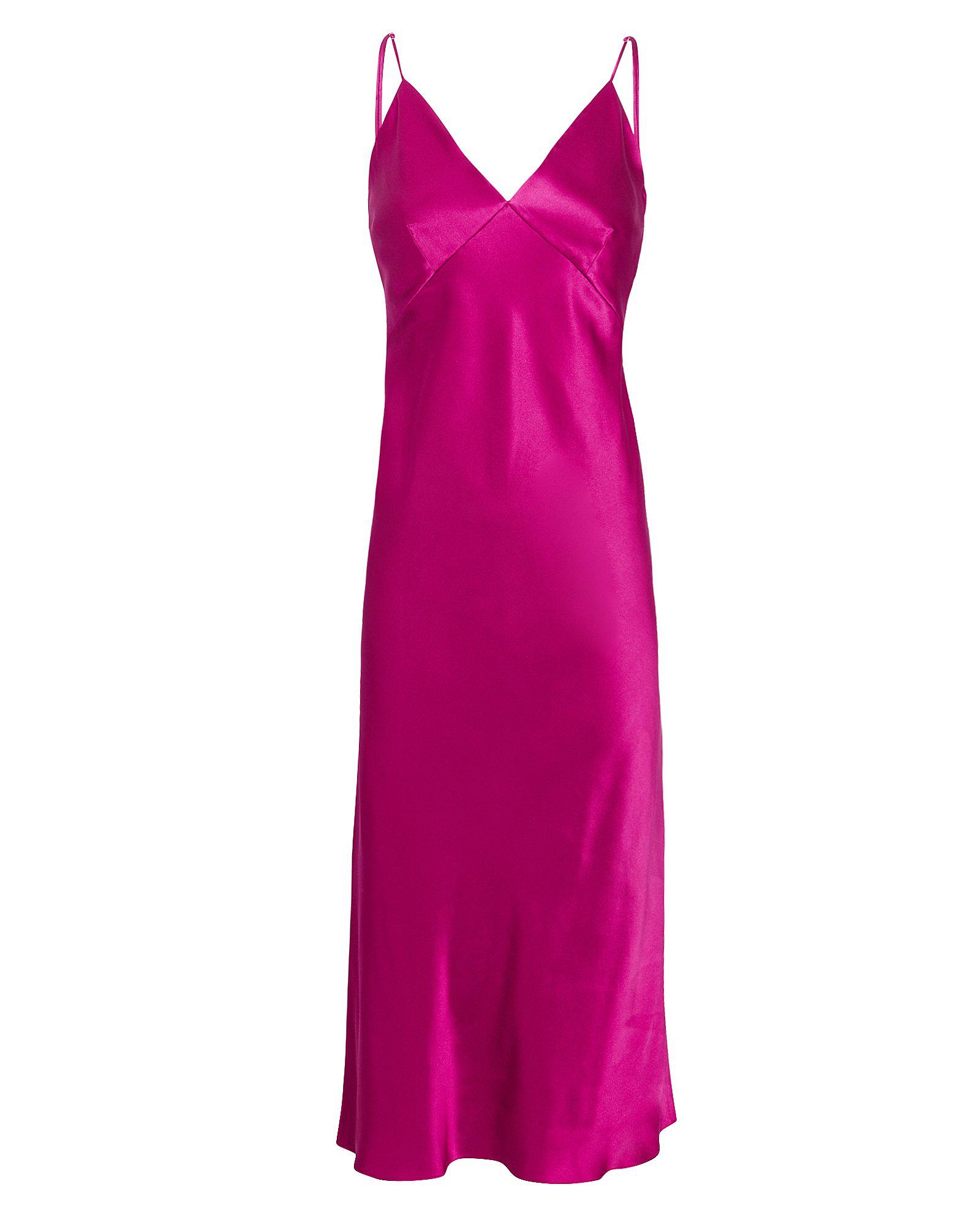 b1e717fe409 Olivia Von Halle Issa Dark Pink Slip Dress In Pink-Drk