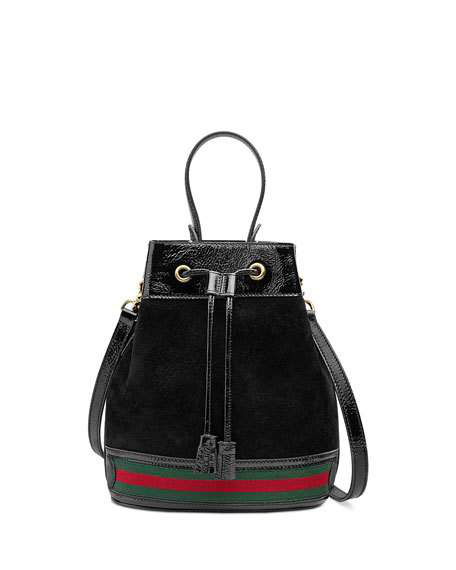 d9fa735ddaa3ea Gucci Ophidia Small Textured Leather-Trimmed Suede Bucket Bag In Black