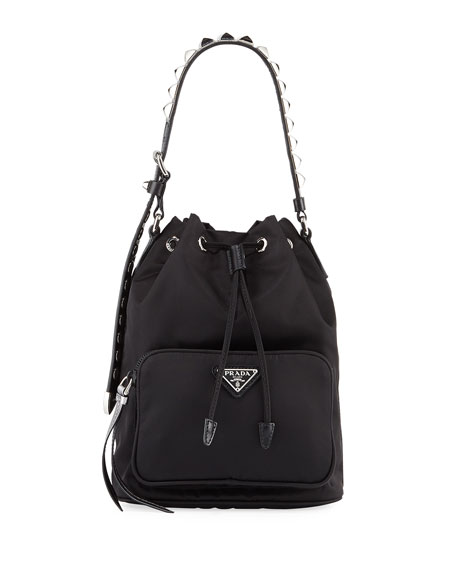 5fd8eaf29a04 Prada Black Nylon Bucket Bag With Studding