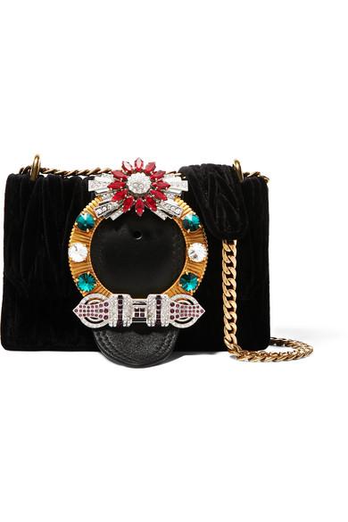 e59319ff7810 Miu Miu Miu Lady Crystal-Embellished Leather And MatelassÉ Velvet Shoulder  Bag In Black