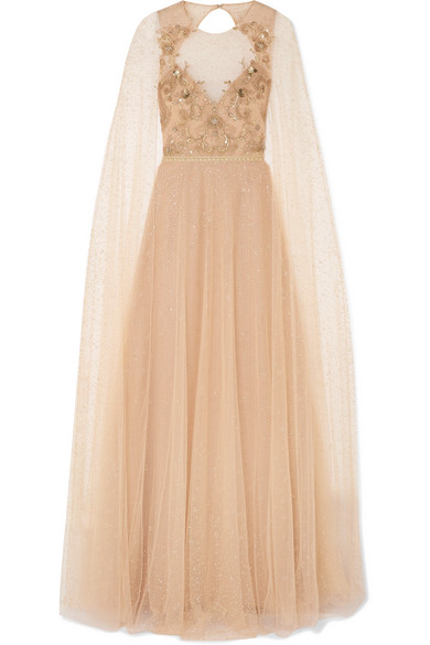 62969f449d5 Marchesa Notte Cape-Effect Embellished Glittered Tulle Gown In Blush ...