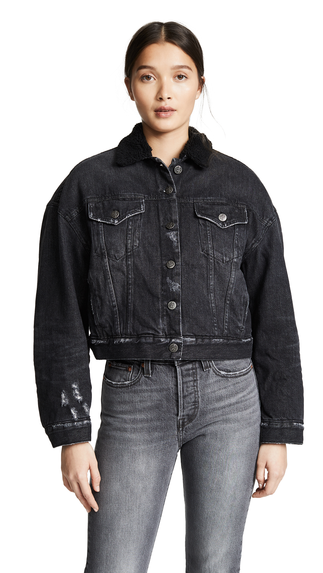 588d9ac79076 Prps Cropped Denim Jacket With Sherpa Lining In Black | ModeSens
