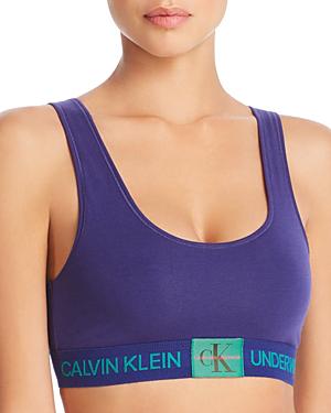 39a730ca5b Calvin Klein Monogram Unlined Bralette In Shilo Blue
